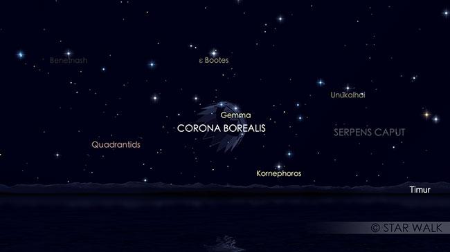 Puncak hujan meteor Quadrantid 4 Januari 2019 pada pukul 04:00 WIB. Kredit: Star Walk