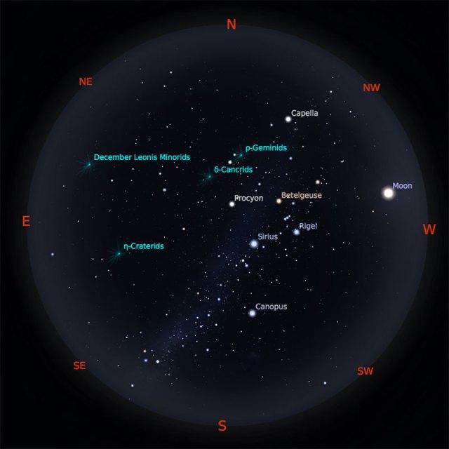 Peta Bintang 15 Januari 2019 pukul 23:59 WIB. Kredit: Stellarium