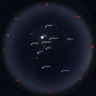 Peta Bintang 15 Februari 2019 pukul 19:00 WIB. Kredit: Stellarium