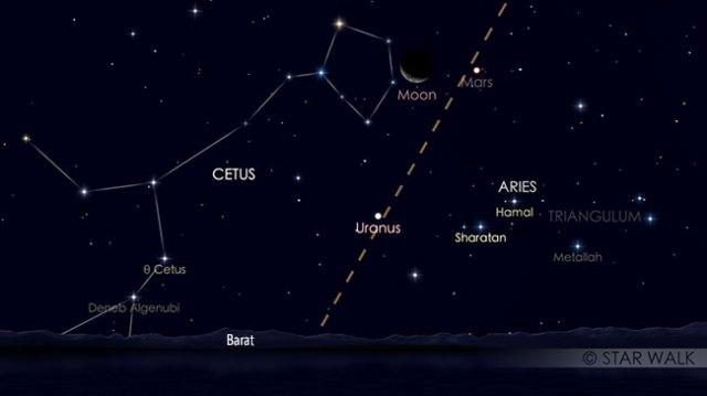 Pasangan Bulan dan Mars 11 Maret 2019 pukul 19:30 WIB. Kredit: Star Walk