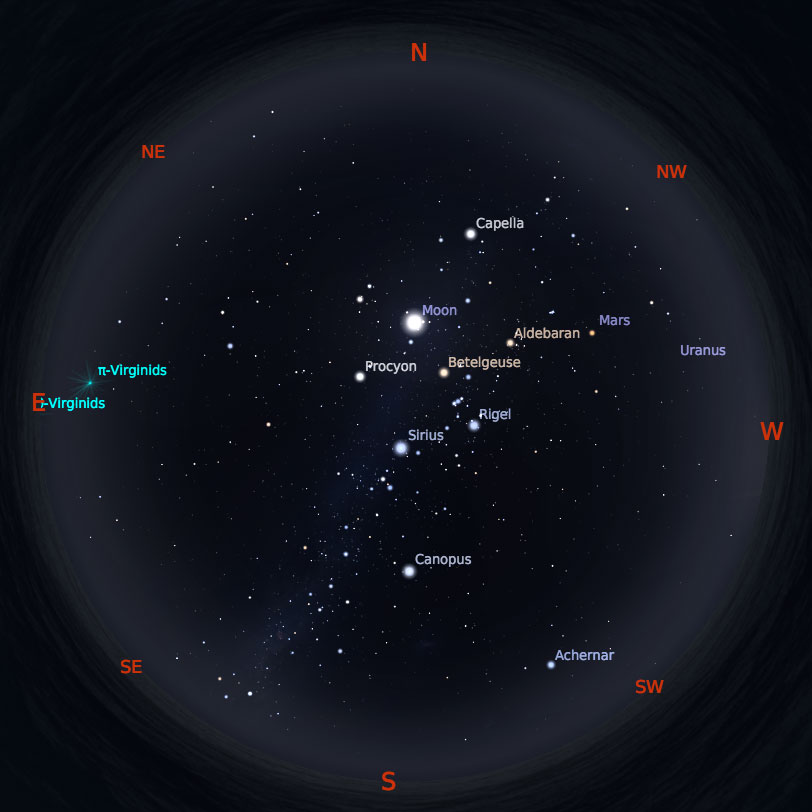 Peta Bintang 15 Maret 2019 pukul 19:00 WIB. Kredit: Stellarium