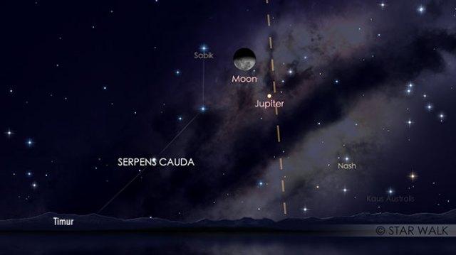 Pasangan Bulan dan Jupiter 27 Maret 2019 pukul 00:00 WIB. Kredit: Star Walk
