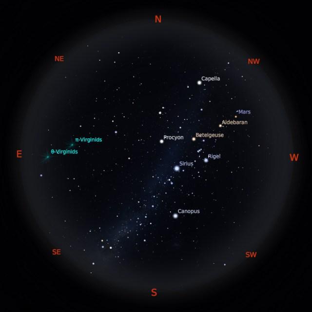 Peta Bintang 1 April 2019 pukul 19:00 WIB. Kredit: Stellarium