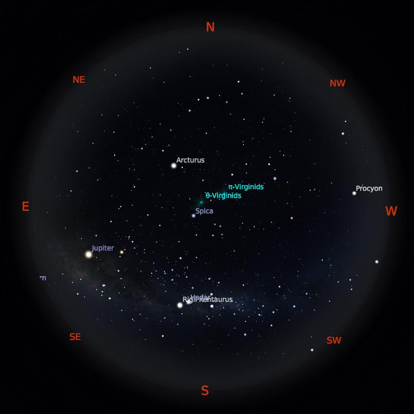 Peta Bintang 1 April 2019 pukul 23:59 WIB. Kredit: Stellarium