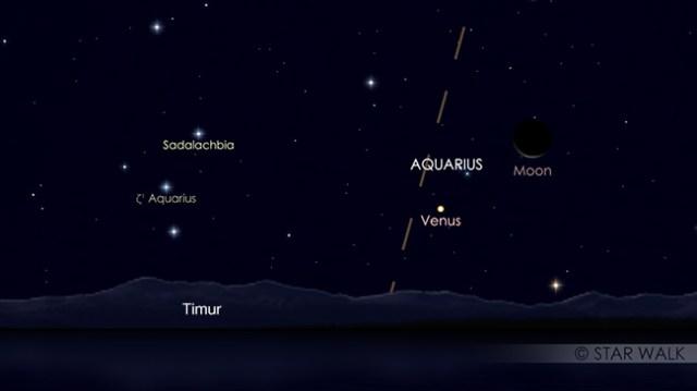 Pasangan Bulan dan Venus 2 April 2019 pukul 04:00 WIB. Kredit: Star Walk