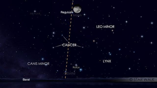 Pasangan Bulan dan Regulus 15 April 2019 pukul 23:00 WIB. Kredit: Star Walk