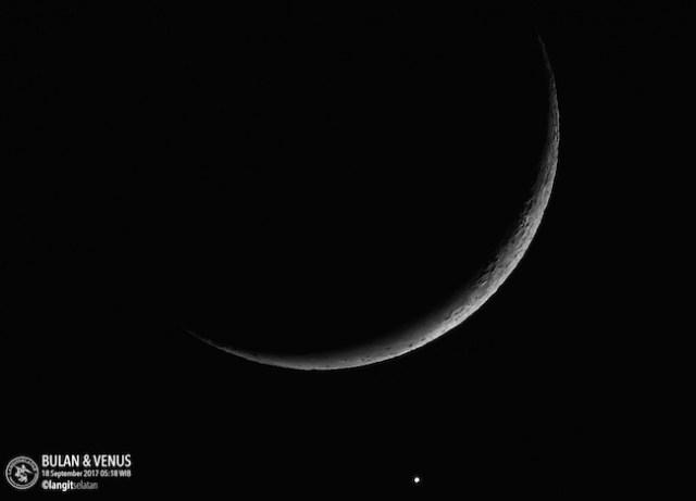Jelang okultasi Venus oleh Bulan tahun 2017. Kredit: langitselatan