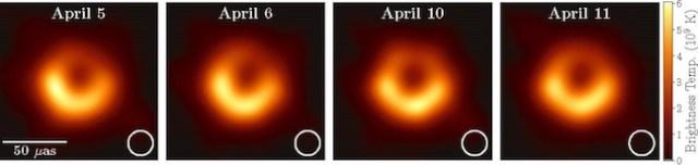 Gambar lubang hitam di pusat M87 diambil dalam 4 hari pengamatan yang berbeda. Kredit: Kolaborasi EHT