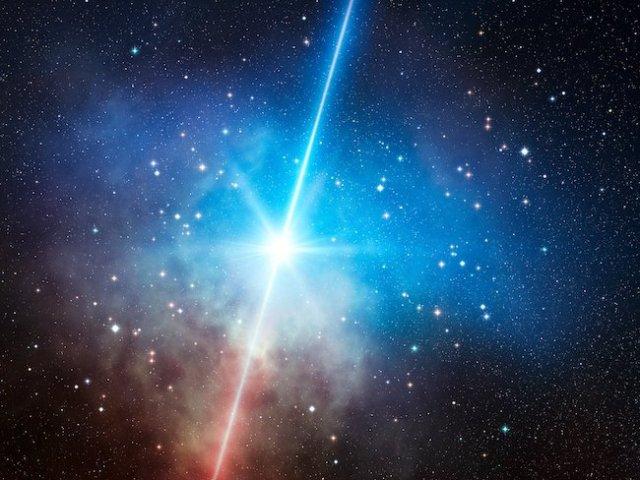 Ilustrasi semburan sinar gamma. Kredit: ESO/L. Calçada