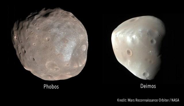 Phobos dan Deimos difoto oleh Mars Reconnaissance Orbiter. Kredit: NASA