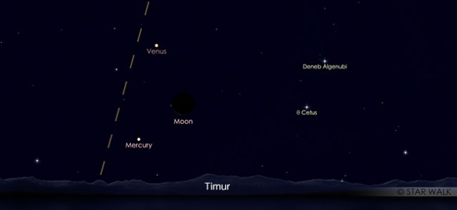 Segitiga Merkurius, Bulan, dan Venus pada tanggal 3 Mei pukul 05:00 WIB. Kredit: Star Walk