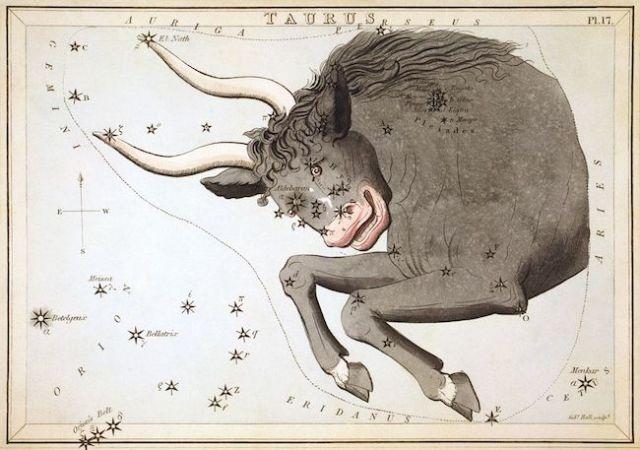 Ilustrasi Taurus diterbitkan di Urania Mirror dan diterbitkan pada 1825 di London. Kredit: Sidney Hall.
