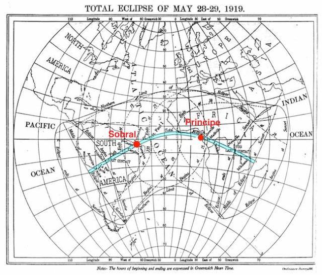 Toral Solar Eclipse Track 1919. Kredit: The Royal Observatory Greenwich