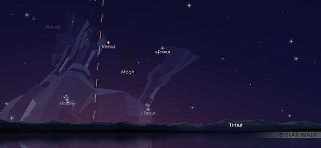 Pasangan Bulan dan Venus pada tanggal 2 Juni pukul 05:30 WIB. Kredit: Star Walk