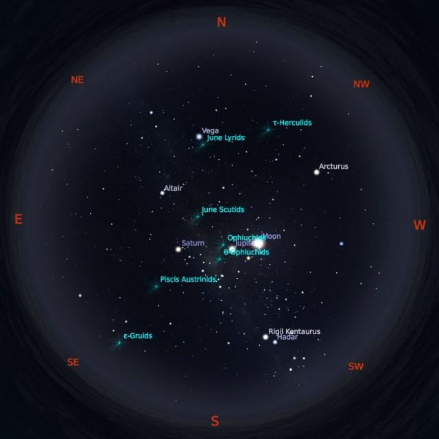 Peta Bintang 15 Juni 2019 pukul 23:59 WIB. Kredit: Stellarium