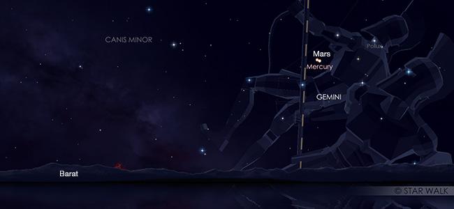 Pasangan Merkurius dan Mars pada tanggal 18 Juni pukul 18:30 WIB. Kredit: Star Walk