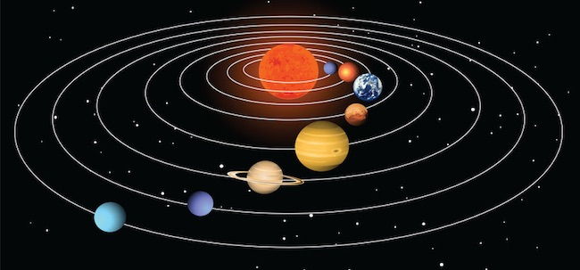 Planet yang mengorbit Matahari. Kredit: canstock photo