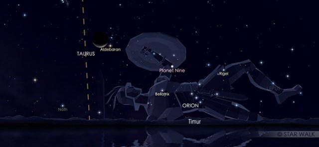 Konjungsi Bulan dan Aldebaran pada 28 Juli pukul 3.30 WIB. Kredit: Star Walk