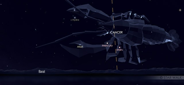 Konjungsi Merkurius dan Mars pada tanggal 6 Juli pukul 18:30 WIB. Kredit: Star Walk