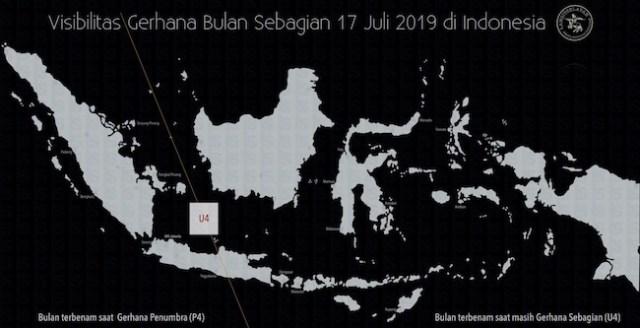 Peta peta gerhana bulan parsial di Indonesia. Kredit: Bahasa Inggris