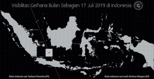 Peta kenampakan Gerhana Bulan Sebagian di Indonesia. Kredit: langitselatan
