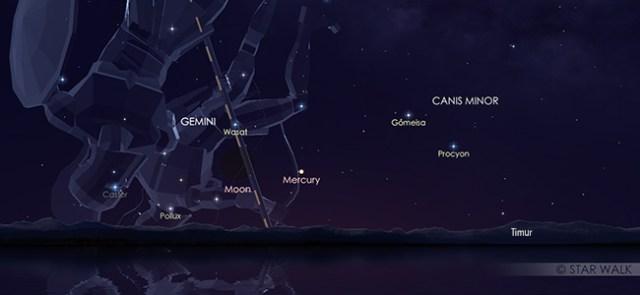 Konjungsi Bulan dan Merkurius pada tanggal 31 Juli pukul 05:30 WIB. Kredit: Star Walk