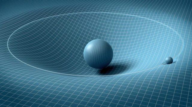 Kelengkungan ruang waktu. Kredit: Go Physics