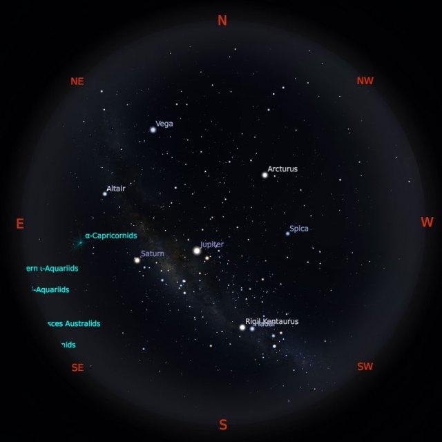 Peta Bintang 1 Agustus 2019 pukul 19:00 WIB. Kredit: Stellarium