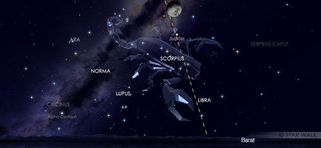 Konjungsi Bulan dan Jupiter pada tanggal 10 Agustus pukul 23:00 WIB. Kredit: Star Walk