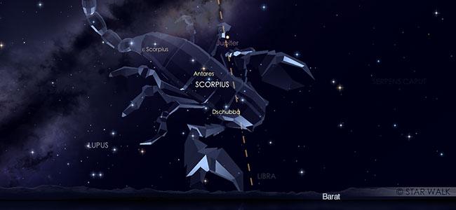 Pasangan Jupiter dan Antares pada tanggal 12 Agustus pukul 23:30 WIB. Kredit: Star Walk