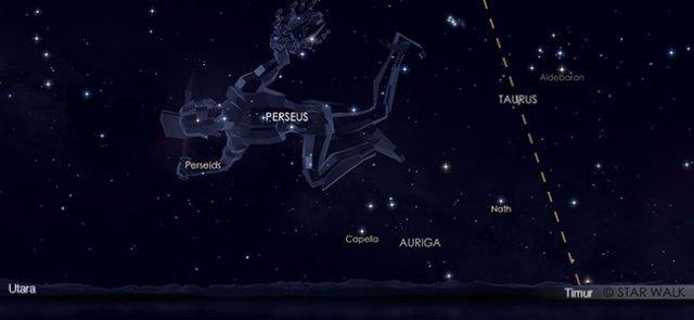 Hujan meteor Perseid saat mencapai puncak tanggal 13 Agustus 2019 pukul 03:00 WIB. Kredit: Star Walk