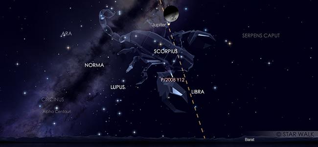 Konjungsi Bulan dan Jupiter pada tanggal 6 September pukul 21:00 WIB. Kredit: Star Walk