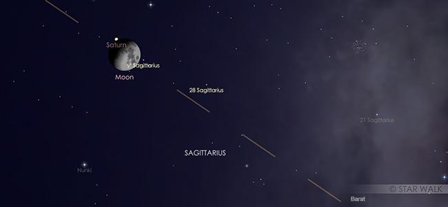 Konjungsi Bulan dan Saturnus pada tanggal 8 September pukul 20:00 WIB. Kredit: Star Walk