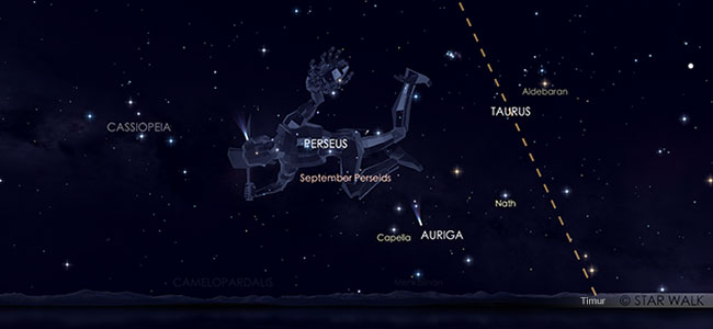 Hujan meteor epsilon Perseid tanggal 10 September 2019 pukul 01:30 WIB. Kredit: Star Walk