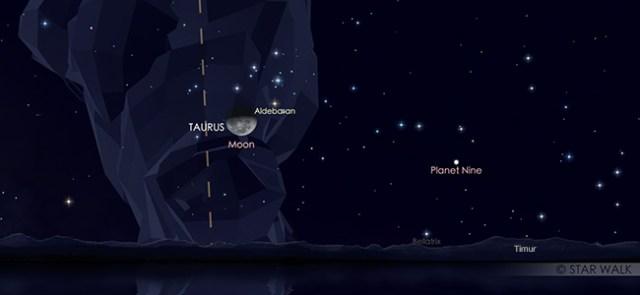 Konjungsi Bulan dan Aldebaran pada 20 September pukul 23:30 WIB. Kredit: Star Walk