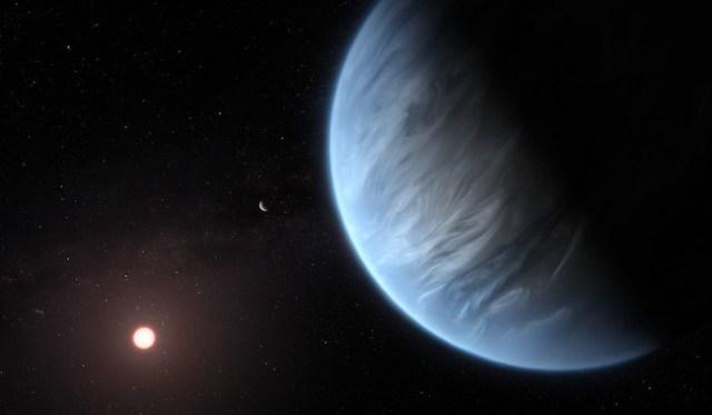 Ilustrasi planet K2-18b, dengan bintang induknya tampak di latar belakang. Kredit: ESA/Hubble, M. Kornmesser.