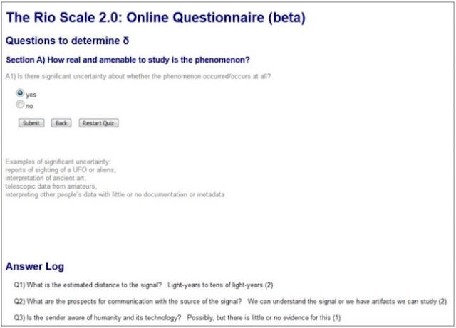 Gambar 2 Tangkapan layar kalkulator Skala Rio 2.0. Terdapat penjelasan mengenai istilah yang digunakan dalam pertanyaan sehingga memudahkan masyarakat umum untuk menggunakannya. Terdapat pula Answer Log mengenai jawaban yang telah diberikan beserta skornya. Sumber: dh4gan.github.io/rioscale2/