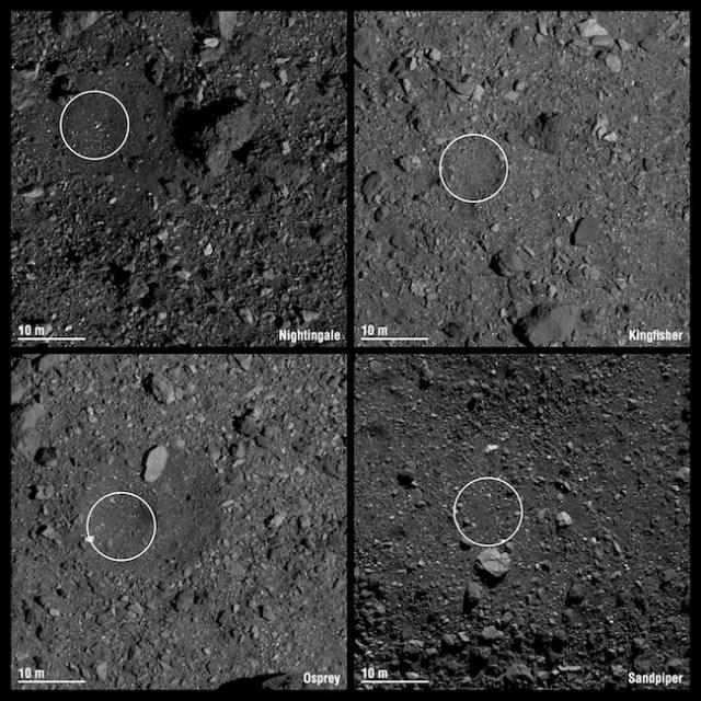 Empat kandidat lokasi pengambilan sampel titik OSIRIS-REx. Kredit: NASA