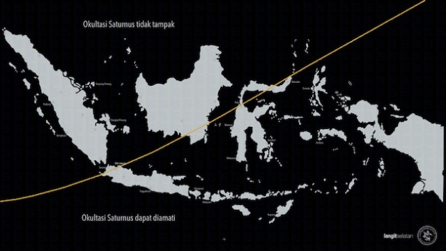 Wilayah Indonesia yang bisa mengamati okultasi Saturnus berada di bawah garis oranye. Kredit: langitselatan