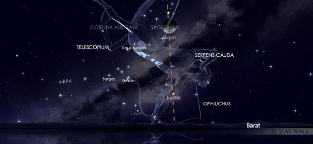Konjungsi Bulan dan Saturnus pada tanggal 5 Oktober 2019 pukul 21:00 WIB. Kredit: Star Walk