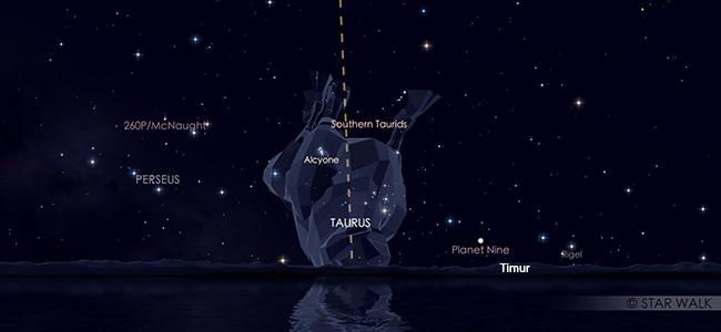 Hujan meteor Taurid Selatan di perbatasan rasi Cetus dan Taurus pada tanggal 10 Oktober 2019 pukul 22:00 WIB. Kredit Star Walk