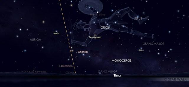Hujan meteor Orionid yang tampak muncul dari rasi Orion pada tanggal 21 Oktober 2019 pukul 23:30 WIB. Kredit Star Walk