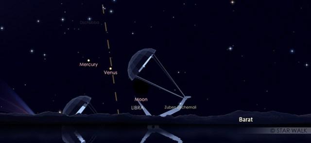 Bulan, Merkurius, dan Venus tampak segaris di langit senja 29 Oktober 2019 pukul 18:30 WIB.