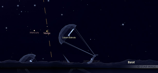 Pasangan Merkurius dan Venus di langit senja 30 Oktober 2019 pukul 18:30 WIB.