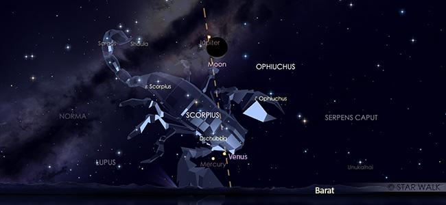 Pasangan Bulan dan Jupiter di langit senja 31 Oktober 2019 pukul 18:30 WIB.