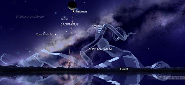 Pasangan Bulan dan Saturnus 2 November 2019 pukul 20:30 WIB. Kredit: Star Walk