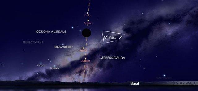 Nikmati inline of the Moon dengan Saturnus, Venus, Jupiter di langit senja 29 November. Ini adalah simulasi acara pada pukul 18:30 WIB. Kredit: Star Walk