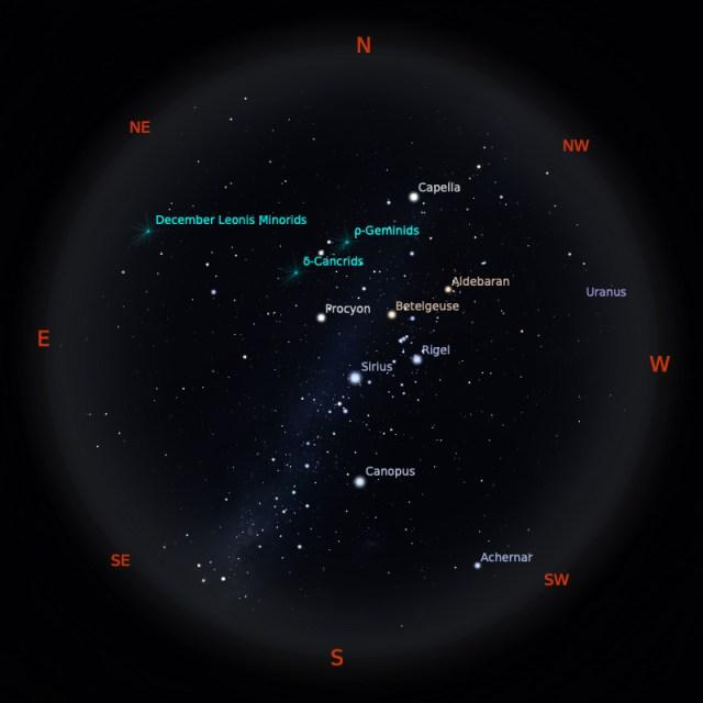 Peta Bintang 1 Januari 2020 pukul 23:59 WIB. Kredit: Stellarium
