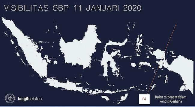 Peta visibilitas Gerhana Bulan Penumbra 11 Januari 2020 di Indonesia. Area di kanan garis P4 tidak akan dapat mengamati gerhana sampai akhir karena Bulan sudah terbenam. Kredit: langitselatan