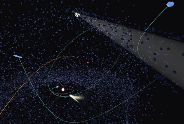 Jejak lintasan komet setelah diganggu oleh interaksi gravitasi objek gas raksasa. Kredit: NAOJ